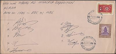 Nepal 1986 Himalayan Expedition Korea 9 Members Signed Cover