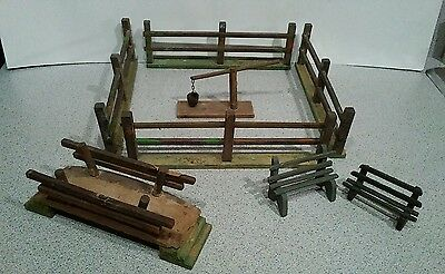 Vintage Antique Putz Christmas Village Fencing w/Accessories