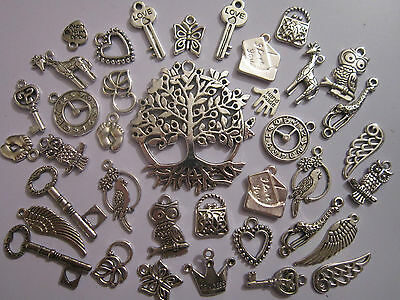 40  tibetan silver pendants charms  hearts wings  owls clock  key tree of life