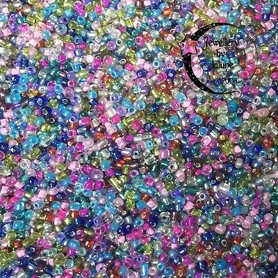 5000 approx Mixed Silver Lined & Inside Colour Glass 11/0 2mm Seed Beads 40g