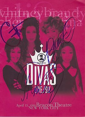 Cher Whitney Houston & Brandy signed Divas Live 99 Program