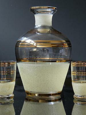 Mid Century Retro Vintage Gold Sugar Frosted Decanter with Shot Glasses