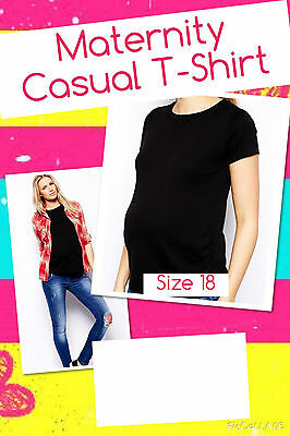 Brand New Maternity Black Casual T-Shirt Size 18