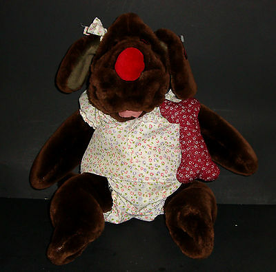 Wrinkles Dog Puppet Plush Stuffed Ganz Chocolate Heritage Collection Girl Bone