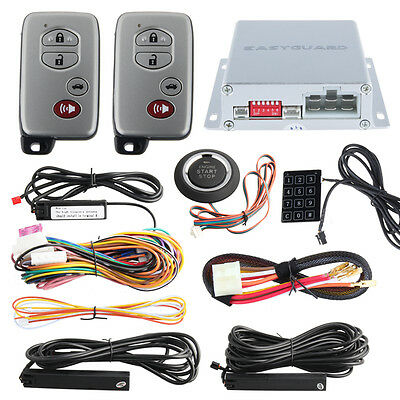 Remote Engine Start PKE Car Alarm System 2 Remotes Push Button Start Functional