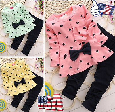 Cute Newborn Infants Baby Kids Girl T-Shirt Tops+ Long Pants Clothes Outfits Set