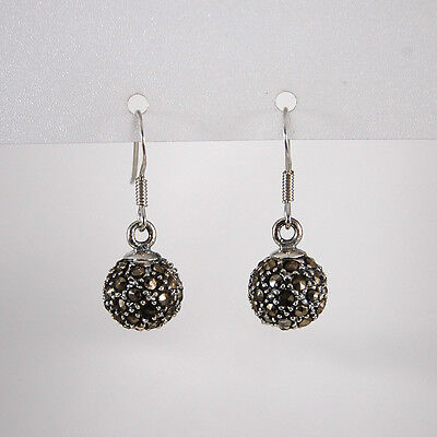 Genuine 925 Sterling Silver Vintage Style Marcasite 10mm Round Ball Drop Earring
