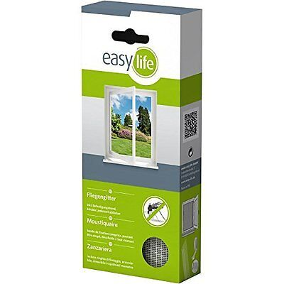 Easy Life Insect/Fly Protection Screen for Windows 130x150 cm, Can Be Shortened
