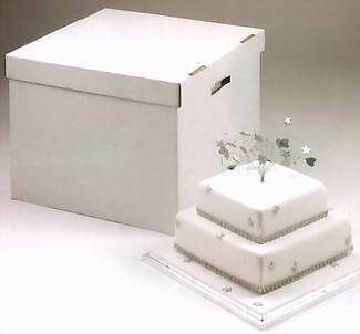 """Tall Sturdy Stacked Cake Box up to 20"""" wide x 16"""" high - Heavy Duty Corrugated"""