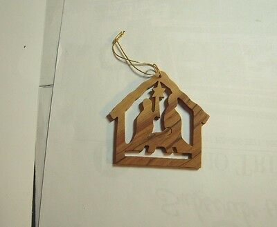 Hand carved made wooden nativity ornament miniature