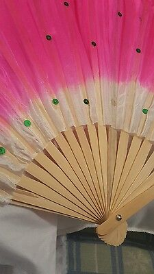 large pink fan unusual costume belly dance prop wooden material on top that wave