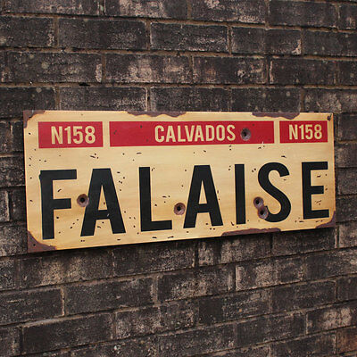 WW2 Falaise Road Sign - French Repro Army Plaque - Military - Normandy - Aged