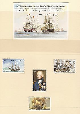 Set Of 4 & Mini Sheet $10 Saint Lucia Stamps - Trafalgar / Nelson Mint