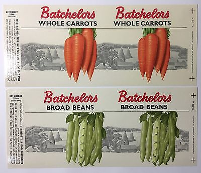 Excellent condition Batchelors British Vintage food tin labels from 1960s 1970s