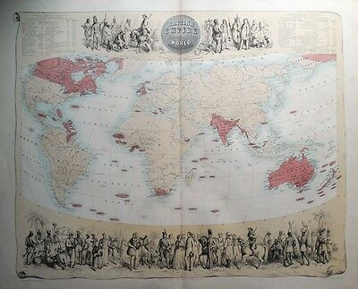 BRITISH EMPIRE THROUGHOUT THE WORLD Fullarton original antique map c1865