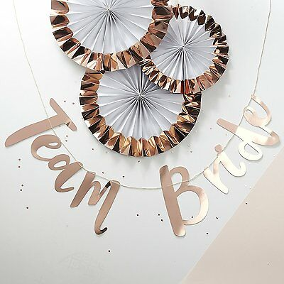 Rose Gold Script Team Bride Banner Bunting Photo Backdrop Prop Party Decoration