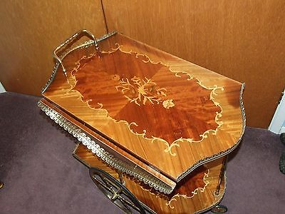 Vintage  Italian Inlaid Wooden And Brass Drop Leaf Drinks Trolley