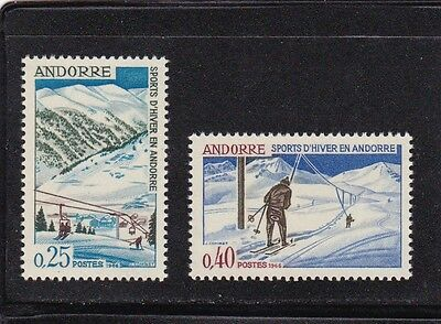 Andorra French #169-170 Mnh Winter Sports (Skiing Showing Lifts)