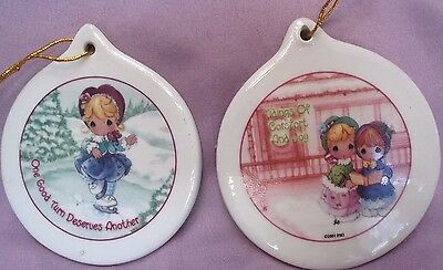 VINTAGE 2001 PRECIOUS MOMENTS ORNAMENTS ~ PM PICS on BOTH SIDES of CERAMIC DISKS