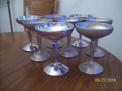 Set Of 8 Vintage Raimond Italy Silver Plated Champagne Glasses