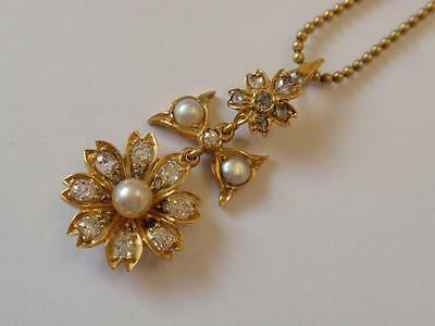 Antique English Edwardian 15Ct. Gold Diamond & Pearl Floral Pendant & Chain