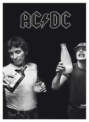 AC/DC  *LARGE POSTER*   RARE Bon Scott  Angus Young  VERY EARLY AMAZING B&W Pic