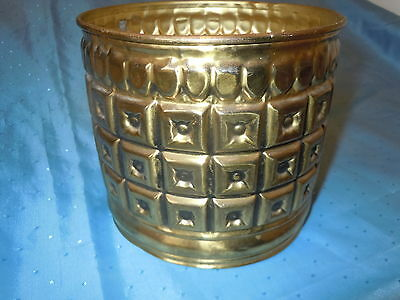 Vintage Brass Ornate Embossed Planter Bucket England Quality Nice