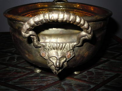 Antique Brass Planter Tray Bowl Lion Satyr Head Handle Footed Old Pan Vintage