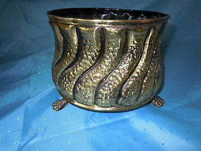 Vintage Hammered Brass Clawfeet Planter Bucket England Old Hand Made Quality