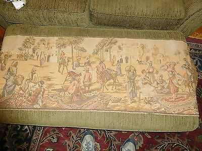 Antique Long Tapestry Middle Eastern Village Scene Nice Made In Belgium ? Old