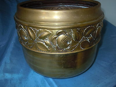 Antique Brass Embossed Roses Planter Bucket Quality Vintage Piece Patina Ornate