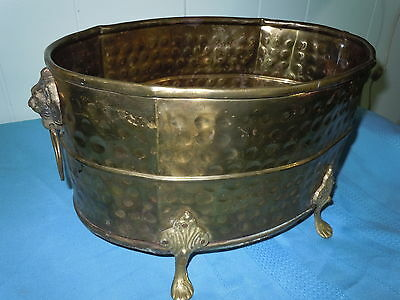 Vintage Hammered Brass Centerpiece Planter Bowl Clawfeet Lion Heads Quality