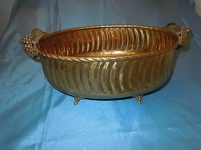 Vintage Heavy Hammered Brass Centerpiece Planter Bowl Quality Grape Handles Nice