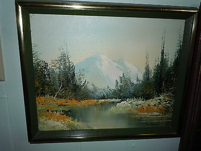 Vintage Oil Painting Artist Signed Art Mountain Lake Scene Quality Trees Greens
