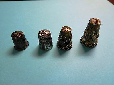 Lot Antique Sterling Silver 925 Thimbles Vintage Art Deco Nouveau Old Sewing