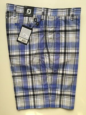 Footjoy Golf Performance Madras Shorts 92339 WHT/GRE/PUR/BLK 34W Clearance