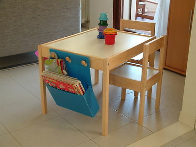 Kids Wooden Pine Table Desk And Chair Set for Study Home Writing Reading