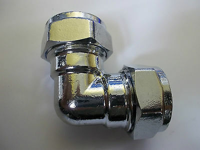 CHROME COMPRESSION BEND 15mm 22mm 28mm 35mm plated brass compression elbow