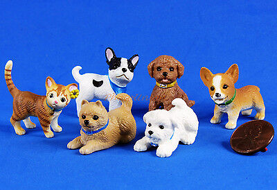 Cake Topper Figure Lovely Dog Doggie Puppy Cat Kitten Statue Decor Set of 6 A378