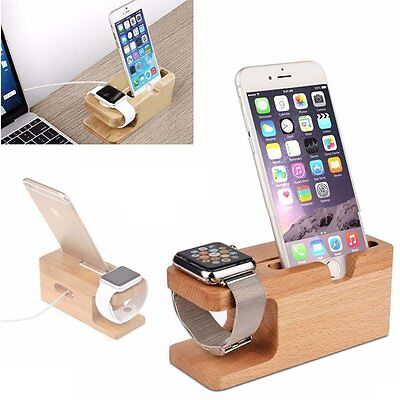 For Apple Watch & iPhone Bamboo Charging Stand Docking Station Cradle Holder