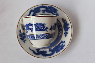Cauldon Dragon Ware Coffee Can Coffee Cup Demi Tasse Blue & White Dragon Antique