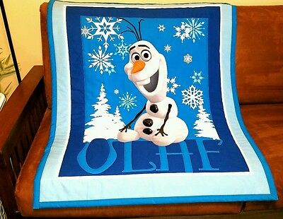 "New, Handmade, ""FROZEN-OLAF"", 36x 44in EMBROIDERED Baby/Toddler  quilted blanket"