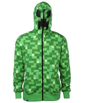 Minecraft Creeper Premium Zip-Up Youth Hoodie, Green, Youth Large, New