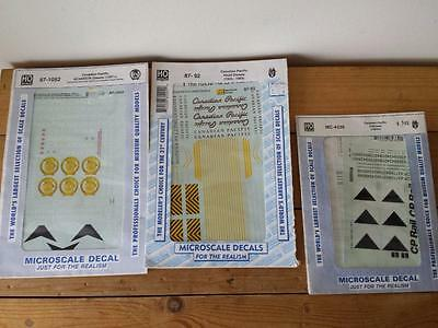 3 x Microscale HO Scale Railway Decals - Canadian Pacific Diesels & Caboose