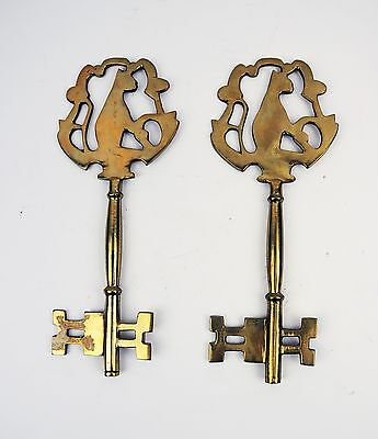 2 Large Vintage Brass cat skeleton keys Heavy Solid Brass