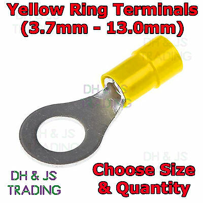 Insulated Yellow Ring Terminals Electrical Crimp Connector Cable Eyelet Terminal