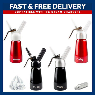 Pro Whip Whipped Cream Charger Whipper & Dispenser 250ml + 3 Piping Nozzles NOS