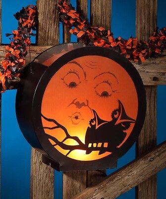 Halloween Vintage Style Moon with Owl Tin/Wire Hanging Lantern w/Light,10''D.