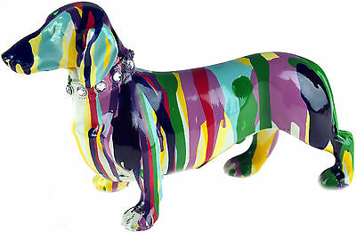 Colourful Art DACHSHUND Contemporary Sculpture Ornament (21cm)