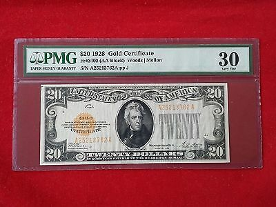 FR-2402  1928 Series $20 Twenty Dollar Gold Certificate *PMG 30 Very Fine*